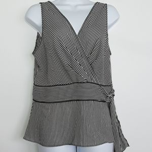 Covington Dressy Tank Striped Tie Waist Detail 12